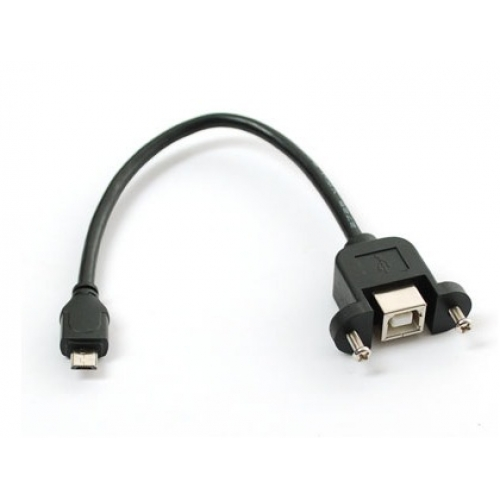 panel mount usb cable b female to micro b male cab bmb. Black Bedroom Furniture Sets. Home Design Ideas