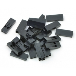 Pololu Crimp Connector Housing: 0.1 inch pitch 1x2-Pin 25-Pack