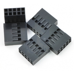 Pololu Crimp Connector Housing: 0.1 inch pitch 2x5-Pin 5-Pack