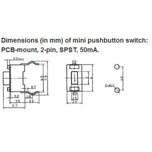 Mini Pcb Pushbutton Switch 2 Pin Spst 50ma 5 Pack 1400 Pololu