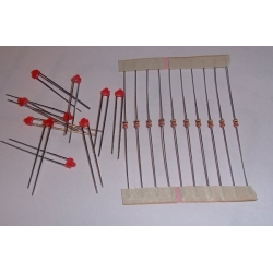 Miscellaneous 1.8mm Red LED / resistor combo (pack 10)