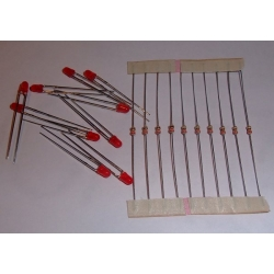 3mm Red LED / resistor combo (pack 10)