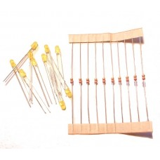 3mm Yellow LED / resistor combo (pack 10)