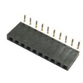 10 Way Single Row Right Angled PCB Header Socket 0.1""