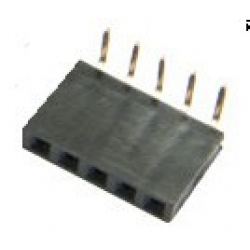 5 Way Single Row Right Angled PCB Header Socket 0.1""