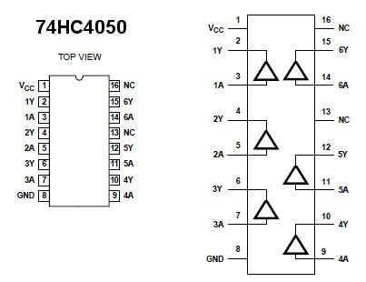 74HC4050 Hex Non-Inverting Buffer (DIP)