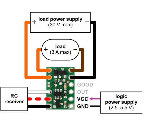 pololu rc switch small low side mosfet pololu wiring diagram the rc switch provides feedback about what state it is in via a yellow indicator led status information is also provided on two output pins