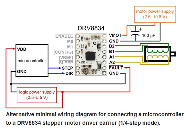 Drv8834 low voltage stepper motor driver carrier 2134 for 4 wire stepper motor driver circuit