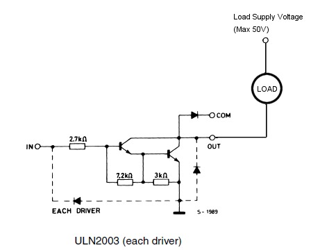Using the ULN2003A to drive a load