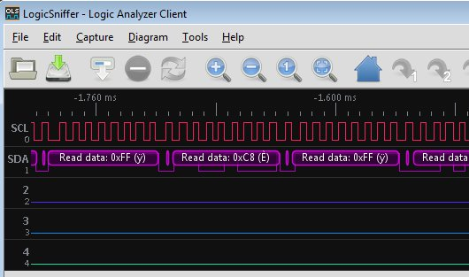 Logic Analyzer showing I2C decode