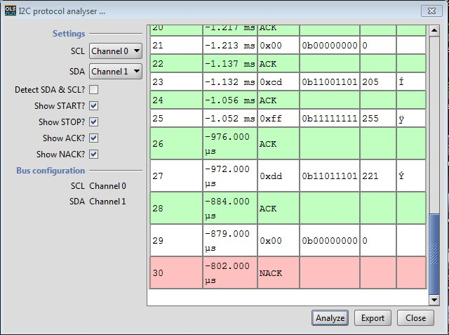Open Logic Sniffer I2C Analysis